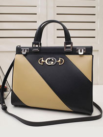 2019 GG original smooth calfskin zumi medium top handle bag 564714 black&apricot