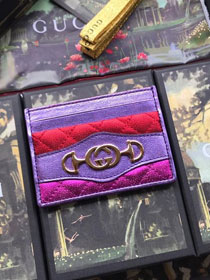 GG calfskin card holder 536354 purple