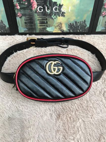 GG original matelasse leather marmont belt bag 476434 black