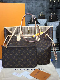 Louis vuitton original handmade monogram canvas neverfull mm m40995 beige