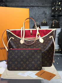 Louis vuitton original handmade monogram canvas neverfull mm m41177 red