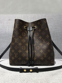Louis vuitton original handmade monogram canvas neonoe bag M44020 black