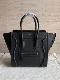 Celine original grained calfskin micro luggage handbag 189793 black