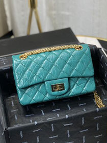 2019 CC original calfskin small 2.55 handbag AS0874 turquoise