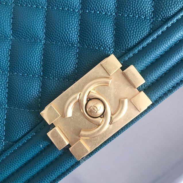 2019 CC original grained calfskin boy handbag A67086 turquoise