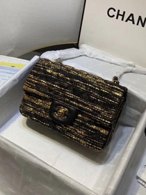 2019 CC original tweed classic mini flap bag A69900 black&gold