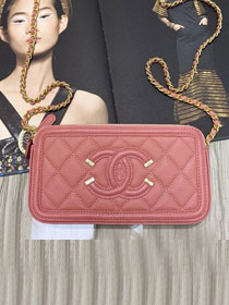 CC original grained calfskin classic clutch with chain A81985 pink