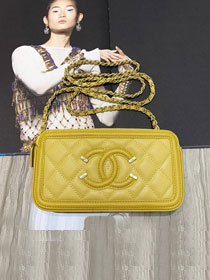 CC original grained calfskin classic clutch with chain A81985 yellow