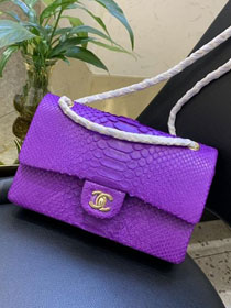 CC original python leather flap bag A01112 purple