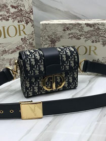 2019 Dior original canvas 30 montaigne box bag M9204 navy blue