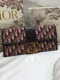 2019 Dior original canvas 30 montaigne clutch bag M9206 burgundy
