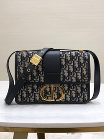 2019 Dior original canvas 30 montaigne flap bag M9203 navy blue