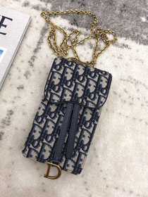 2019 Dior original canvas phone case S6073 dark blue