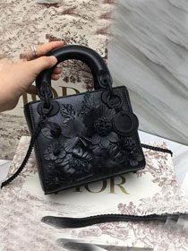 2019 Dior original crackled lambskin mini lady dior bag M0505 black
