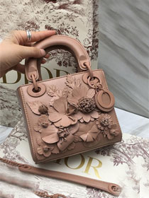 2019 Dior original crackled lambskin mini lady dior bag M0505 nude