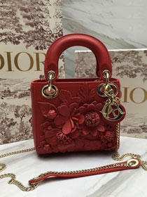 2019 Dior original crackled lambskin mini lady dior bag M0505 red