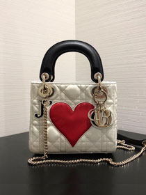 2019 Dior original crackled lambskin mini lady dior bag M0505 white
