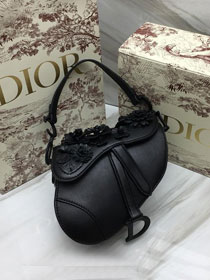2019 Dior original embroidered lambskin mini saddle bag M0447 black