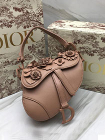 2019 Dior original embroidered lambskin mini saddle bag M0447 nude