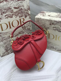 2019 Dior original embroidered lambskin mini saddle bag M0447 red