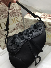 2019 Dior original embroidered lambskin saddle bag M0446 black