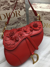 2019 Dior original embroidered lambskin saddle bag M0446 red