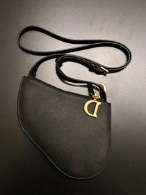 2019 Dior original grained calfskin saddle clutch S5642 black