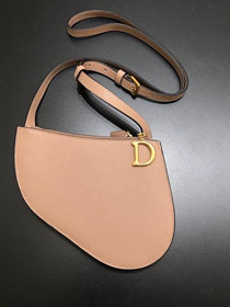 2019 Dior original grained calfskin saddle clutch S5642 nude