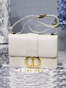 2019 Dior original smooth calfskin 30 montaigne flap bag M9203 white
