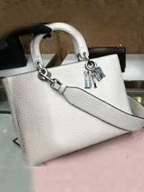 Dior original calfskin large lady dior bag M0584 white
