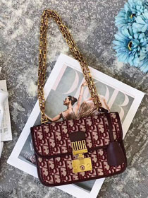 Dior original canvas small dioraddict flap bag M5819 burgundy