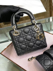 Dior original grained calfskin mini lady dior bag 44500 black