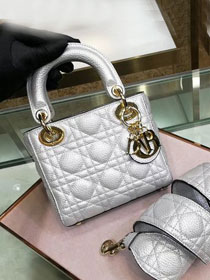 Dior original grained calfskin mini lady dior bag 44500 silver