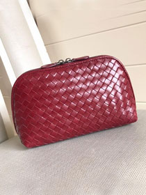 BV original lambskin compact cosmetic case 132534 wine red