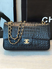 2020 CC original crocodile calfskin flap bag A01112 black