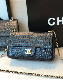 2020 CC original crocodile calfskin mini flap bag A69900 black
