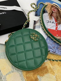 2020 CC original lambskin clutch with chain AP0725 green