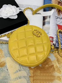 2020 CC original lambskin clutch with chain AP0725 yellow