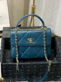 2020 CC original lambskin top handle small flap bag A92236 turquoise