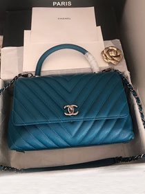 CC original grained calfskin large coco handle bag A92991 turquoise
