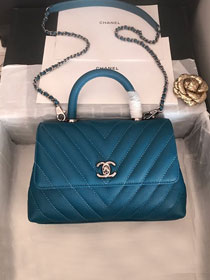 CC original grained calfskin small coco handle bag A92990 turquoise