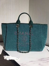2020 CC original mixed fibers&canvas large shopping bag A66941 turquoise