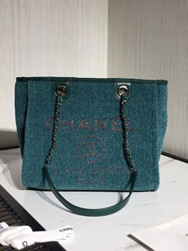 2020 CC original mixed fibers&canvas shopping bag A93785 turquoise