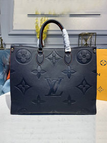 2020 louis vuitton original calfskin onthego tote bag M44571 navy blue