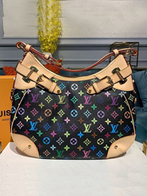 Louis vuitton original monogram multicolor hobo bag M40192 black