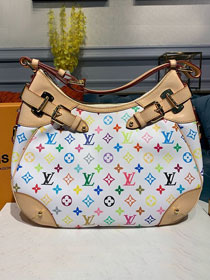 Louis vuitton original monogram multicolor hobo bag M40193 white