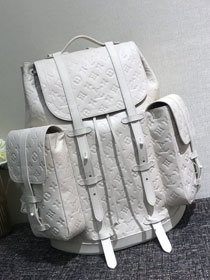 2020 louis vuitton original monogram empreinte christopher backpack gm M53286 white