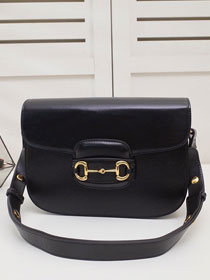2020 GG original calfskin 1955 horsebit shoulder bag 602204 black