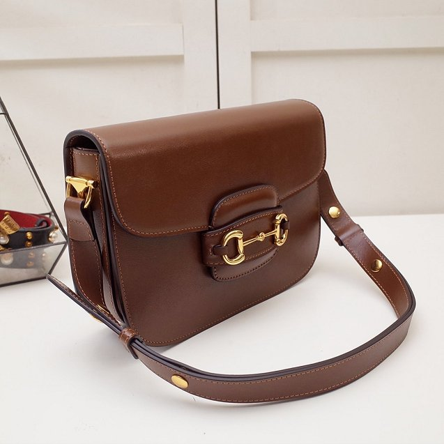 2020 GG original calfskin 1955 horsebit shoulder bag 602204 brown