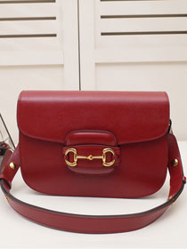 2020 GG original calfskin 1955 horsebit shoulder bag 602204 red